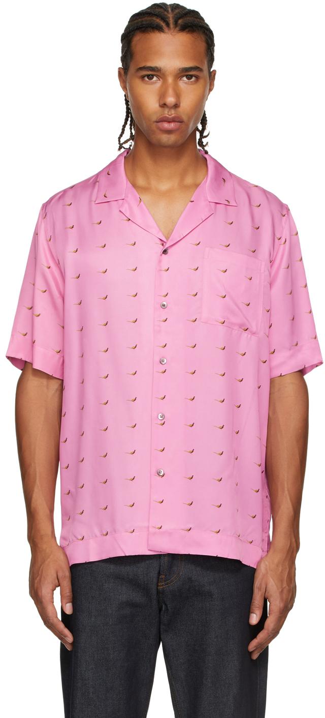 Pink Viscose Printed Short Sleeve Shirt
