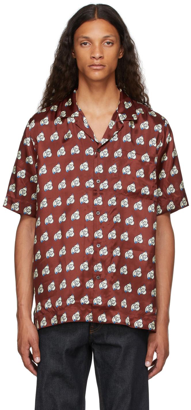 Burgundy Viscose Camp Shirt
