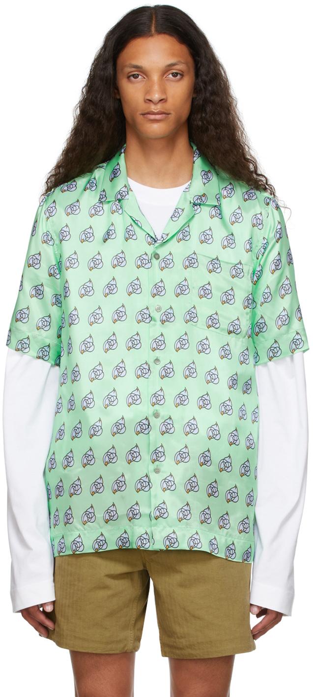 Green Viscose Printed Short Sleeve Shirt