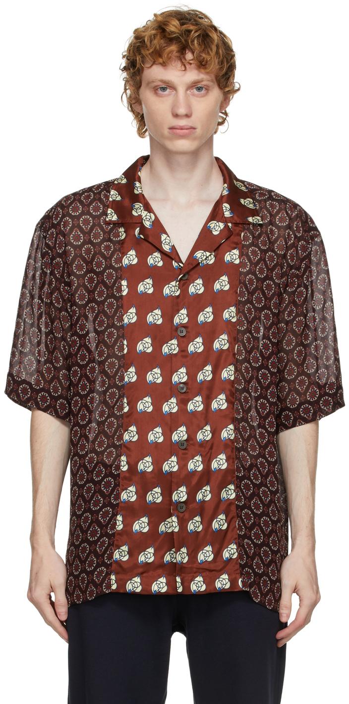 Burgundy Viscose Print Shirt