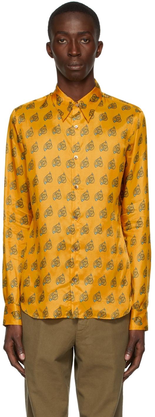 Yellow Viscose Printed Shirt