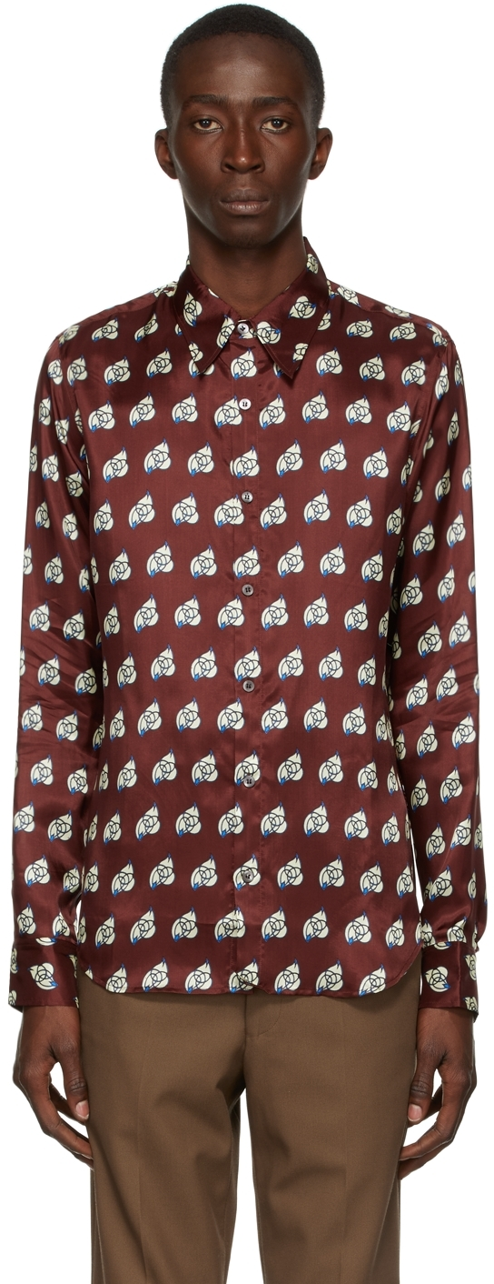 Burgundy Viscose Printed Shirt