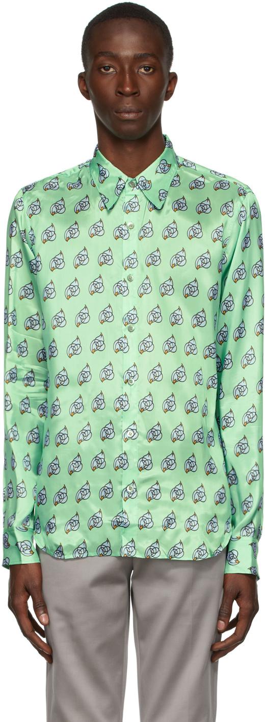 Green Viscose Printed Shirt