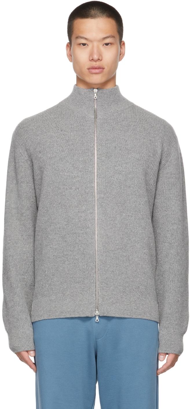 Grey Rib Knit Zip-Up Sweater