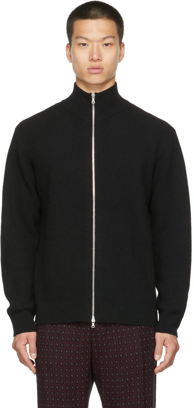Black Alpaca & Wool Zip-Up Sweater