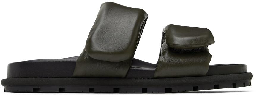 Khaki Leather Slip-On Sandals