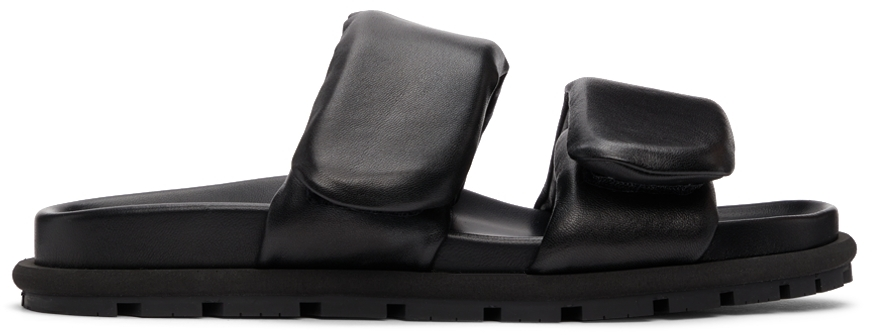 Black Leather Padded Sandals