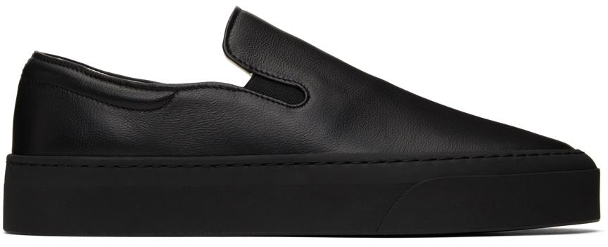 Black Leather Marie H Slip-On Sneakers