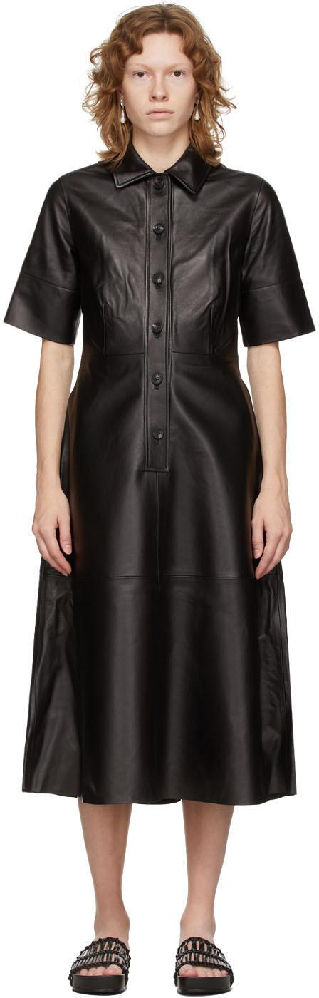 Black Leather Placket Dress