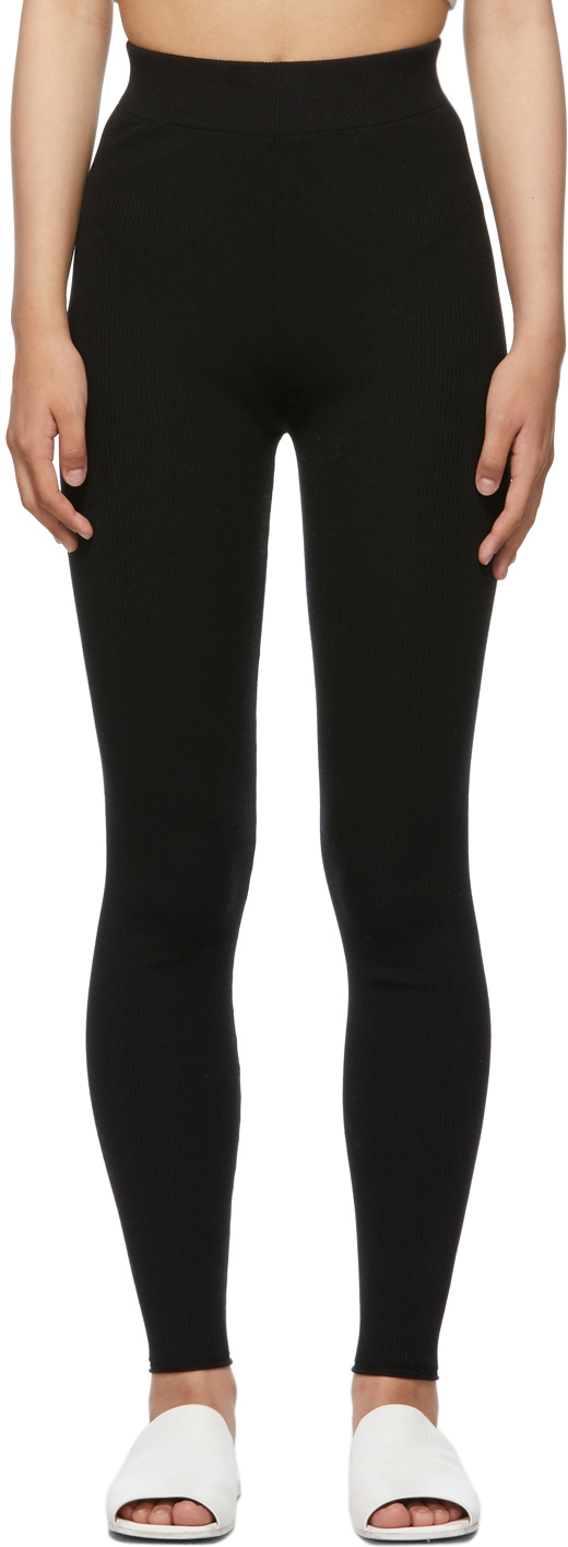 Black Silk Ribbed Leggings
