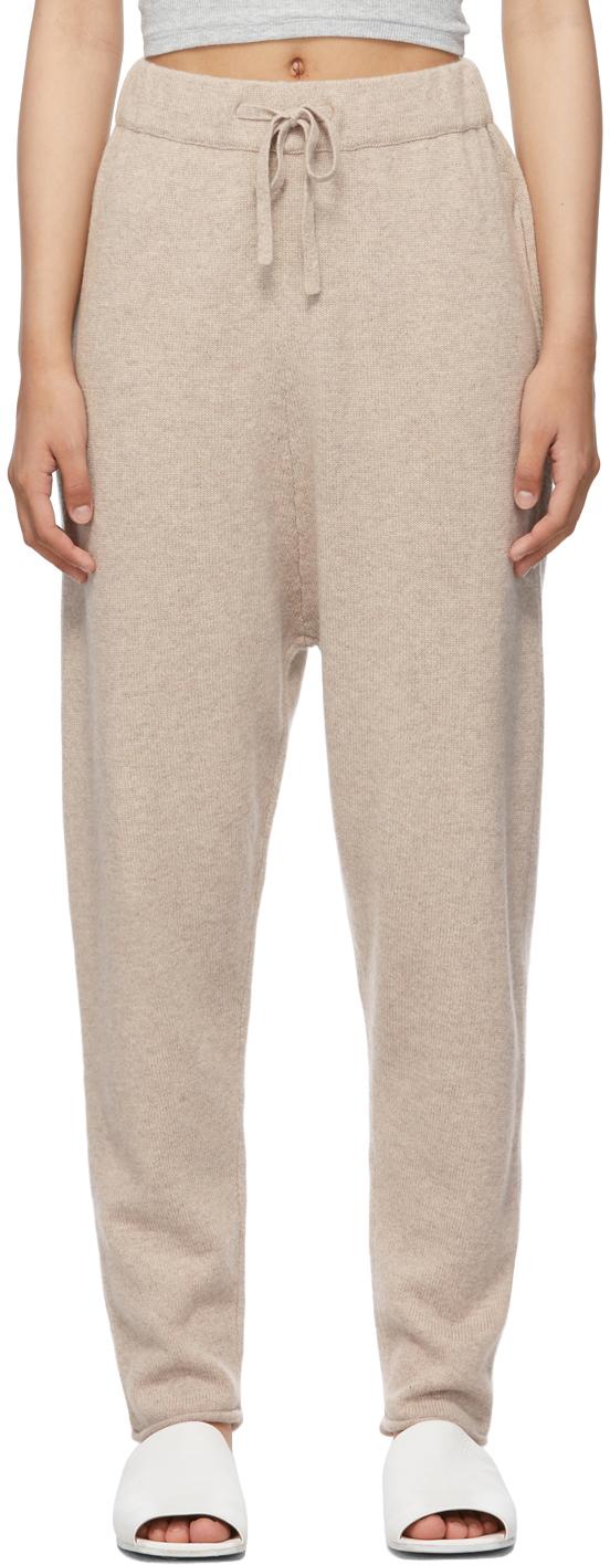 Beige Drawstring Jogger Lounge Pants
