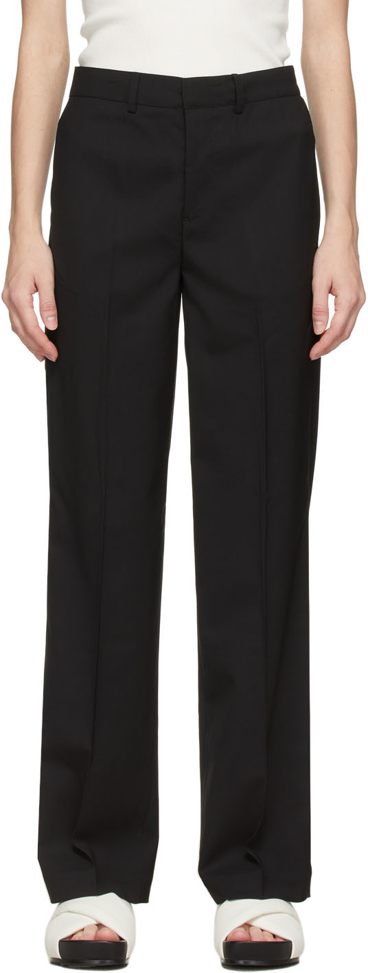 Black Wool Wide Leg Trousers