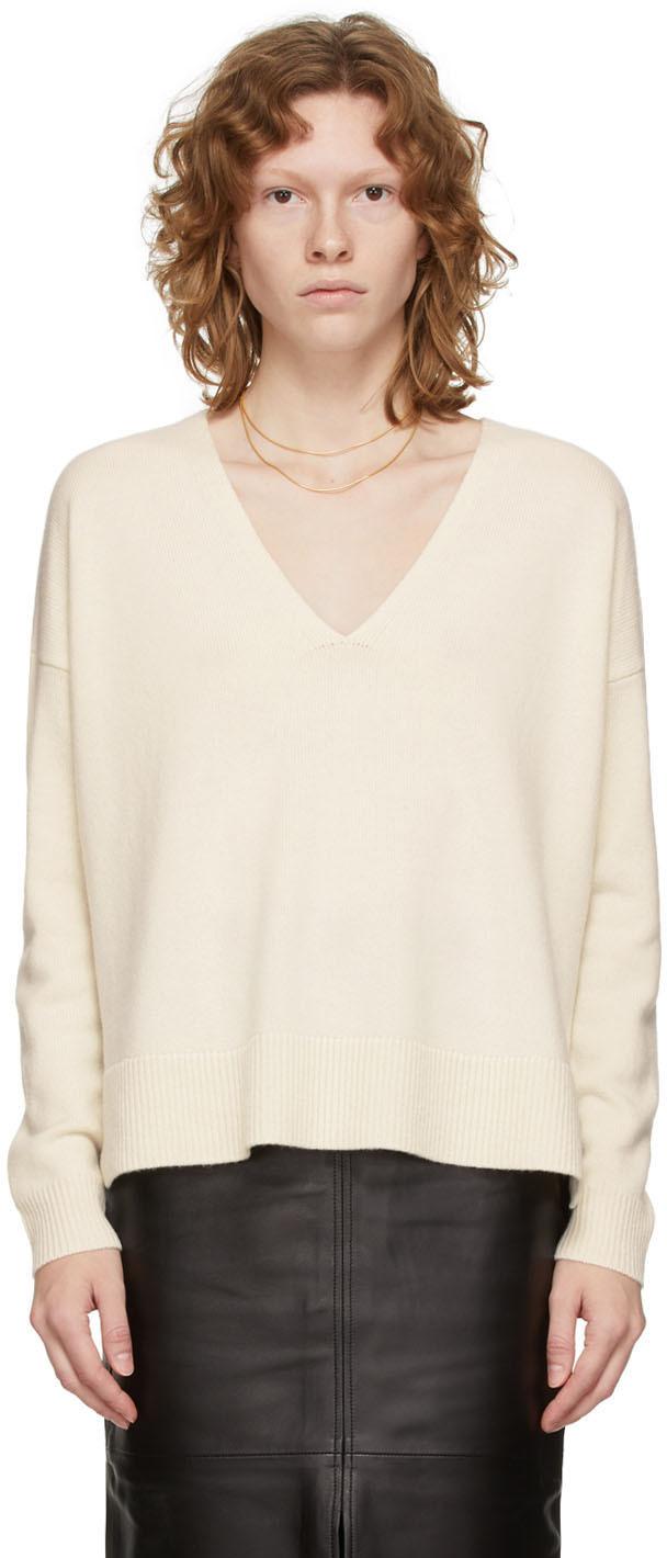 White Cashmere V-Neck Sweater