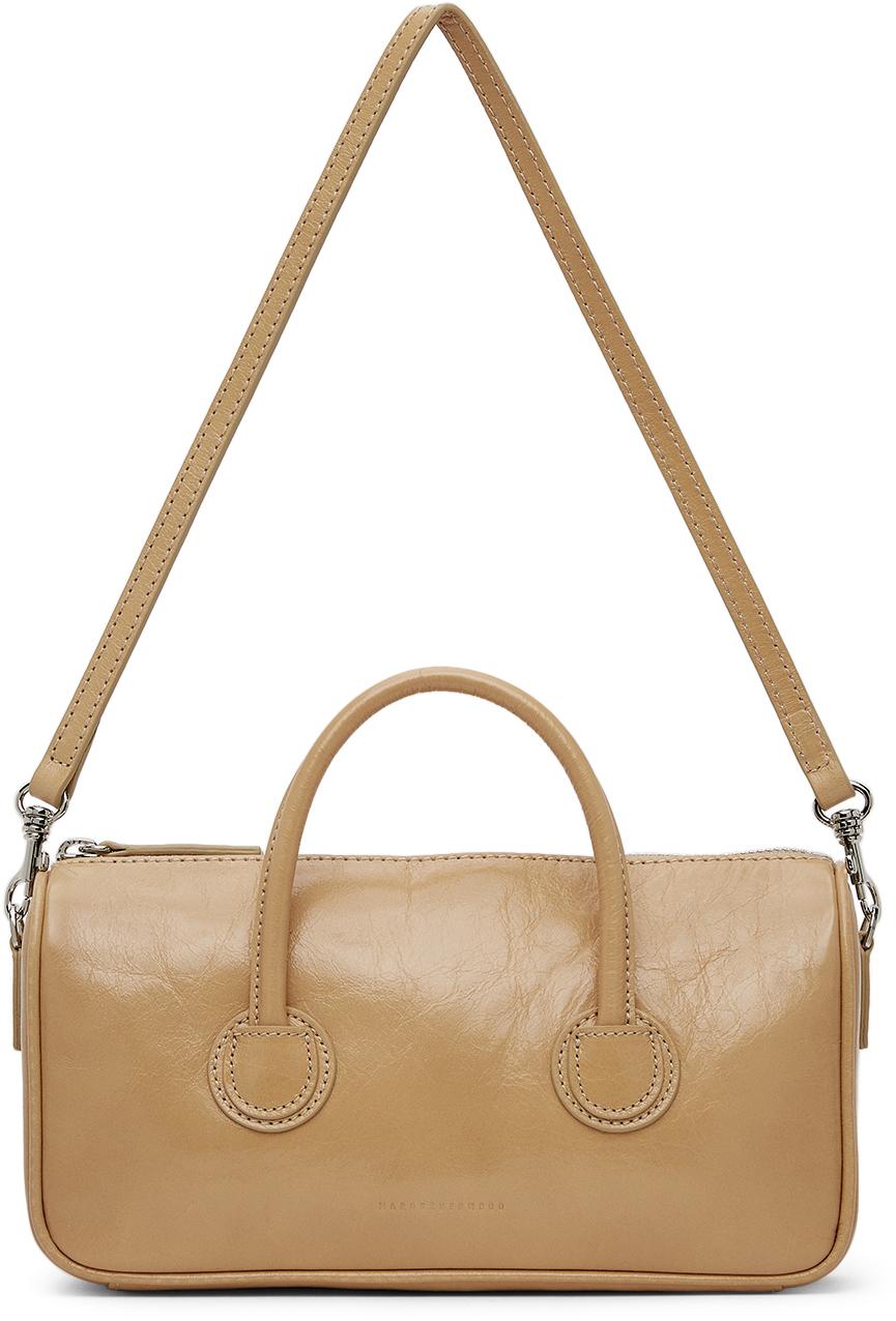 Beige Crinkled Small Zipper Bag