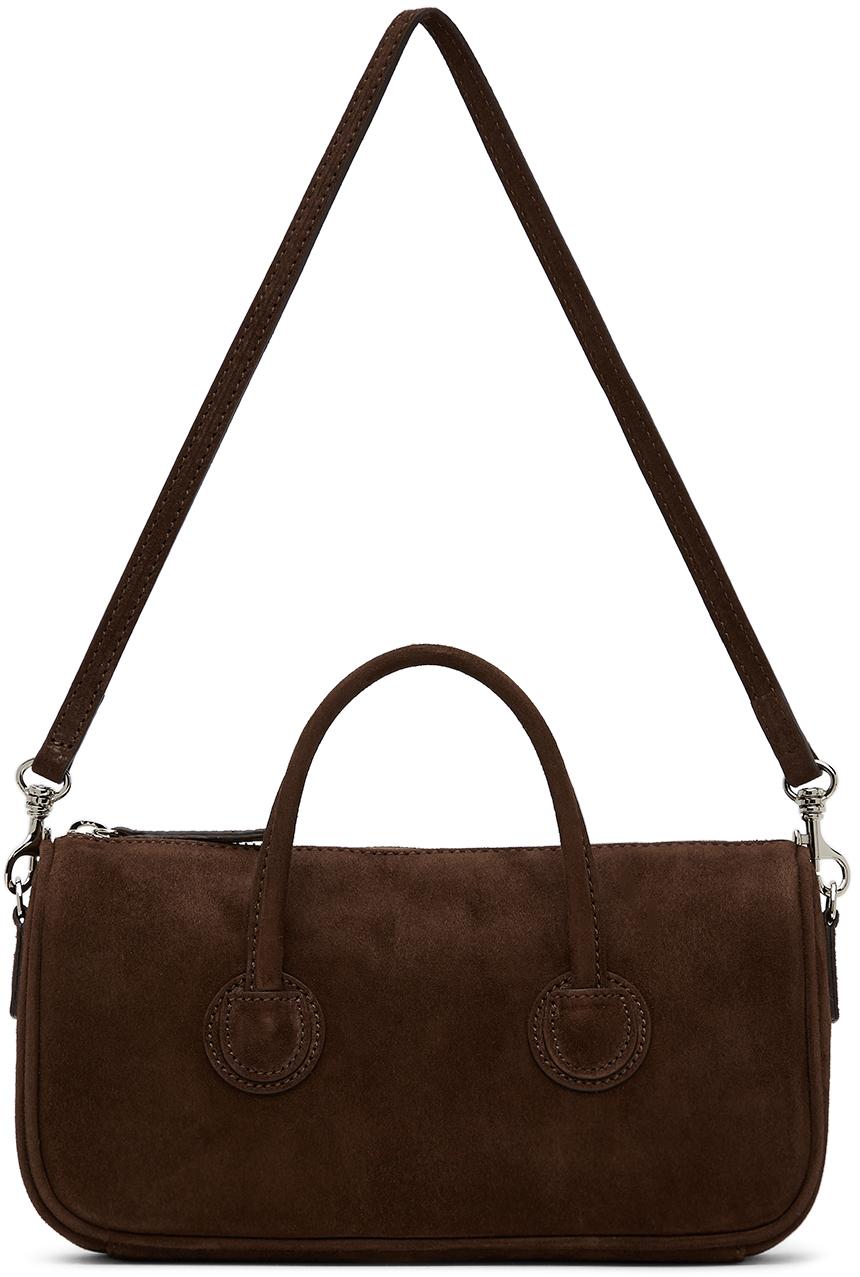 Brown Suede Small Zipper Bag