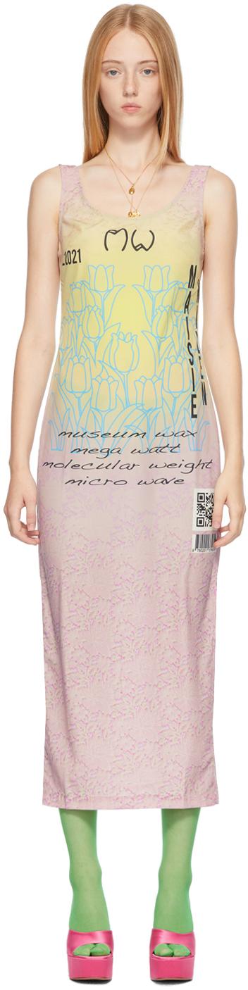Pink & Grey Ghost Midi Tank Dress