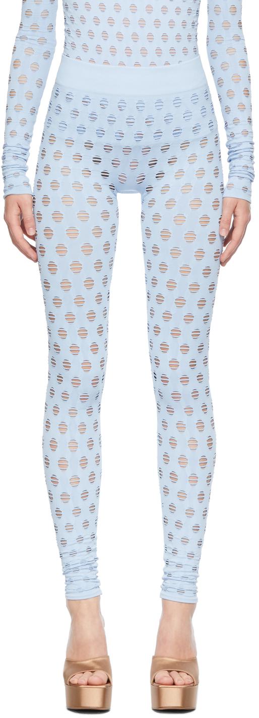 Blue Perforated Leggings