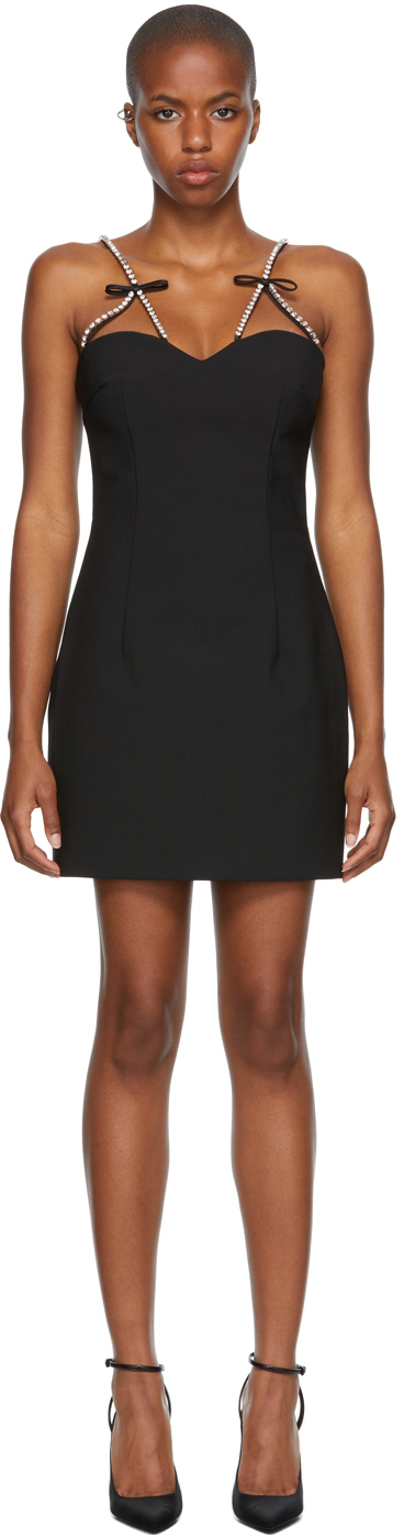 Black Crystal Bow Strap Mini Dress