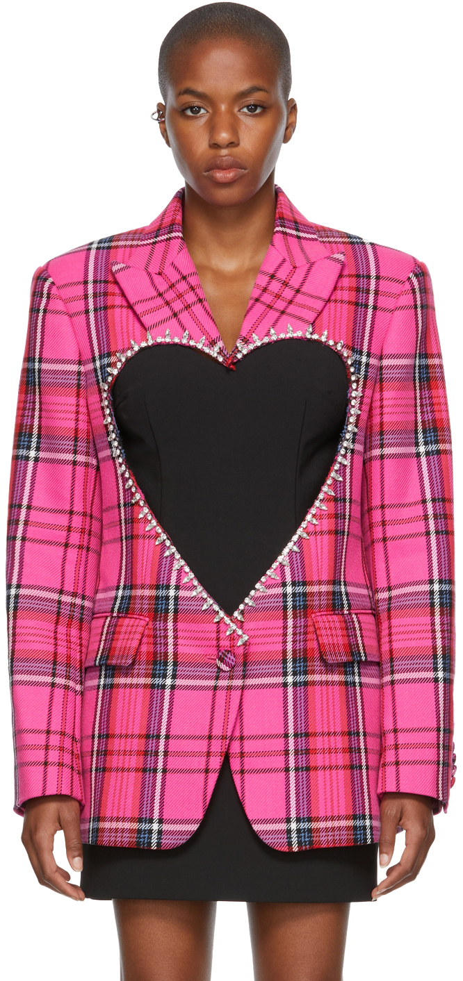 Pink Check Heart Cut-Out Blazer