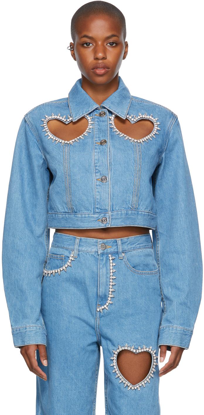Blue Denim Crystal Heart Jacket