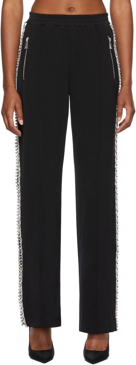 Black Contrast Stripe Wide-Leg Trousers