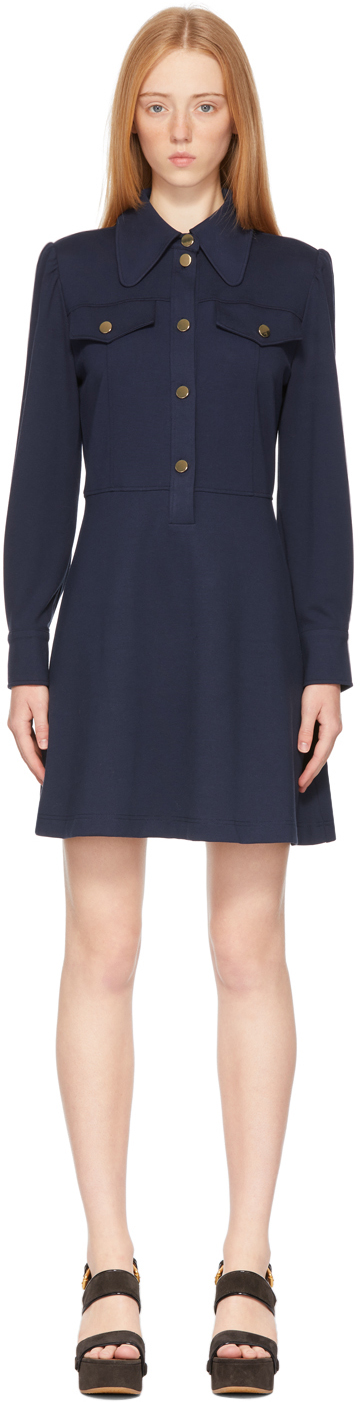See by Chloé Navy Buttoned Shirt Dress
