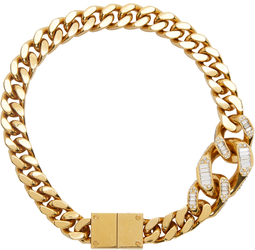 Gold Crystal Detailed Curb Chain Necklace