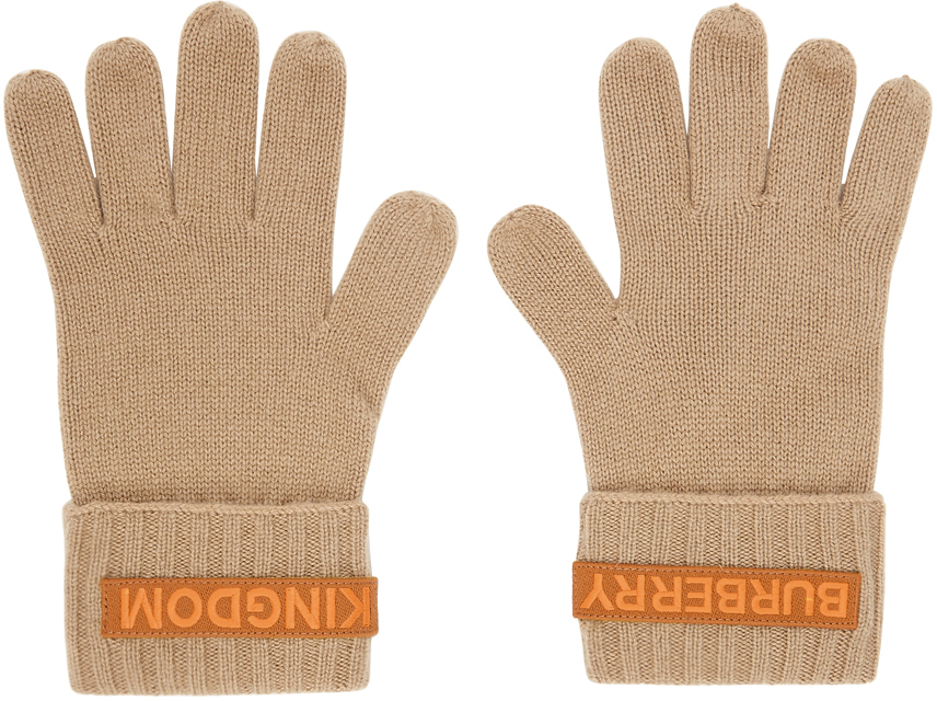 Beige Cashmere Logo & 'Kingdom' Gloves