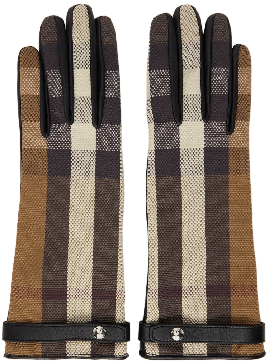 Brown & Black Check Lambskin Gloves
