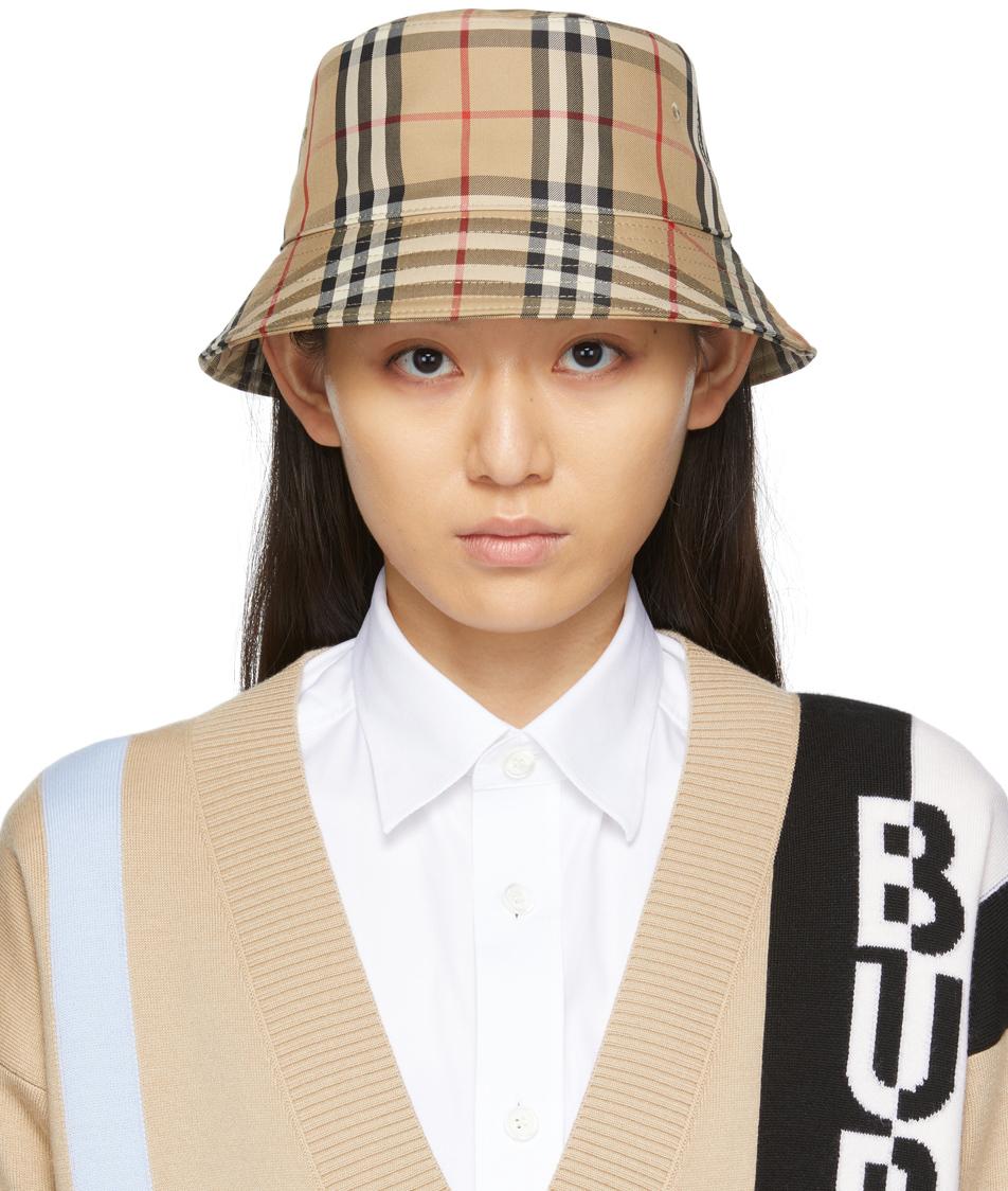 Beige Vintage Check Bucket Hat