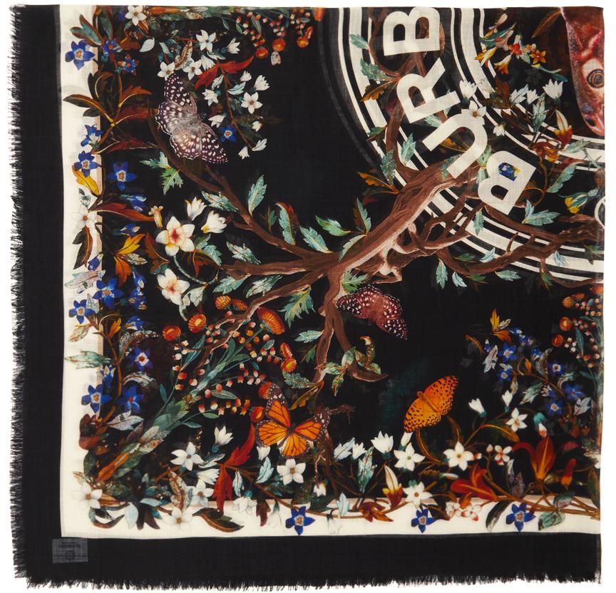 Multicolor Large Silk Floral Square Scarf