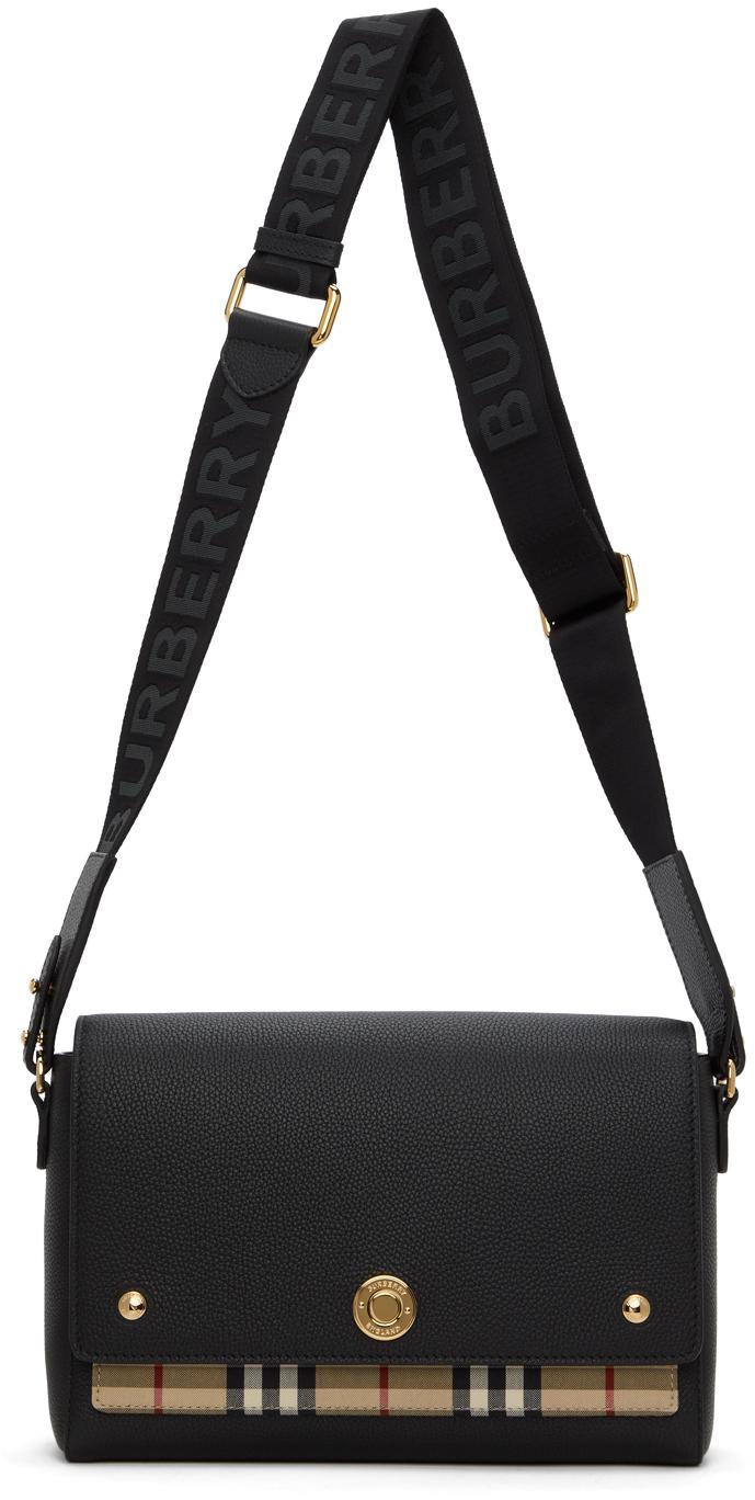 Black & Beige Vintage Check Note Crossbody Bag
