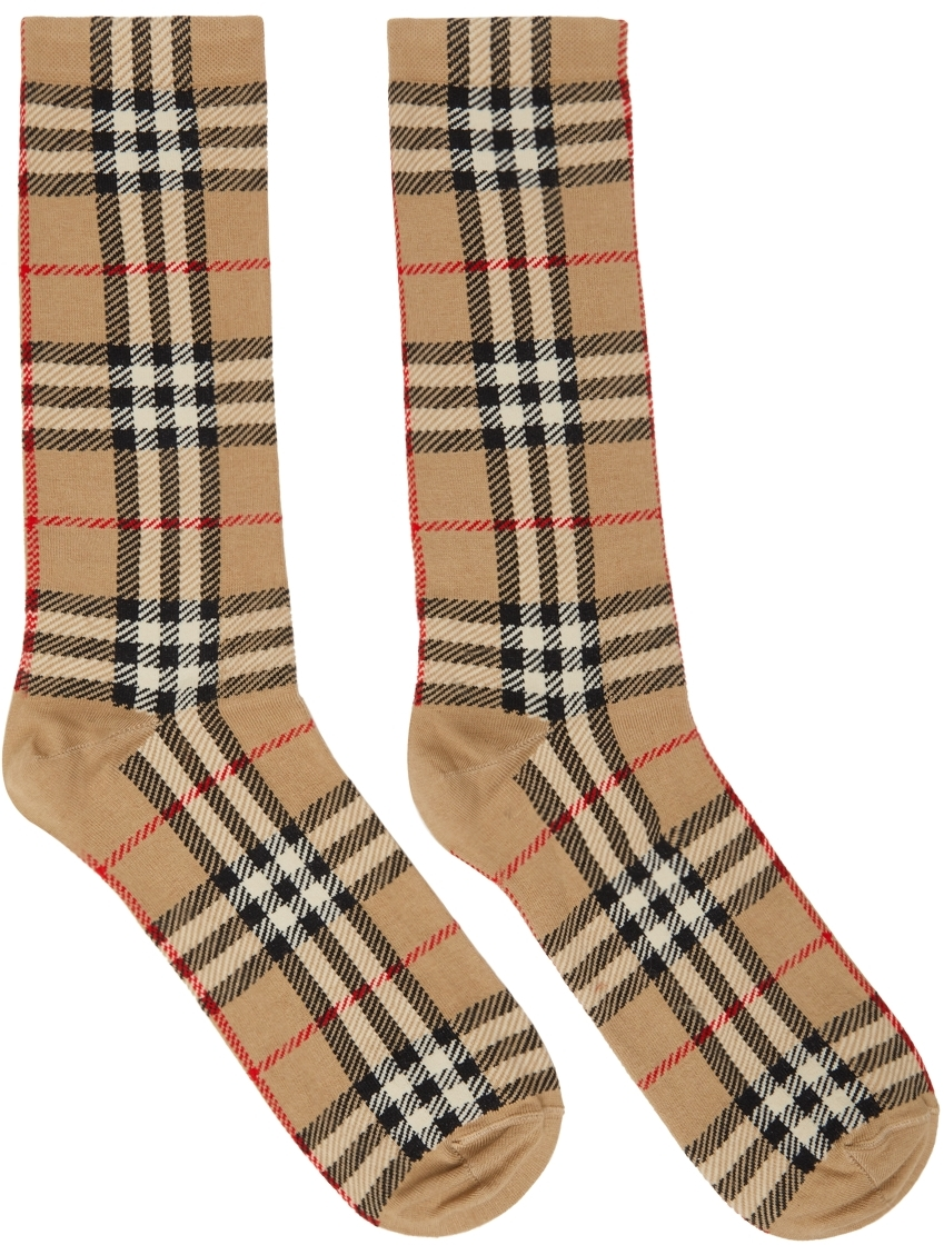 Beige Check Jacquard Socks