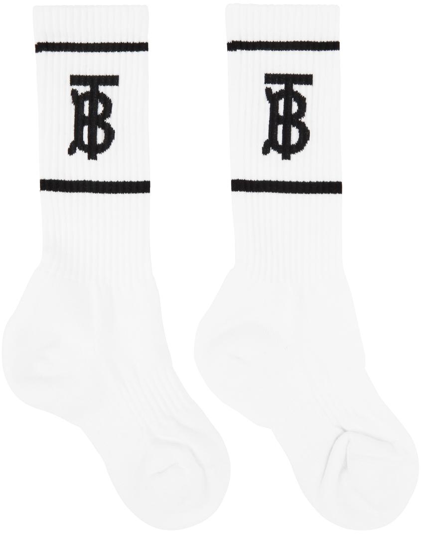 White TB Monogram Socks
