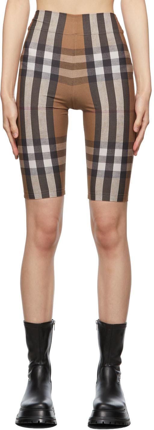 Brown Check Cycling Shorts