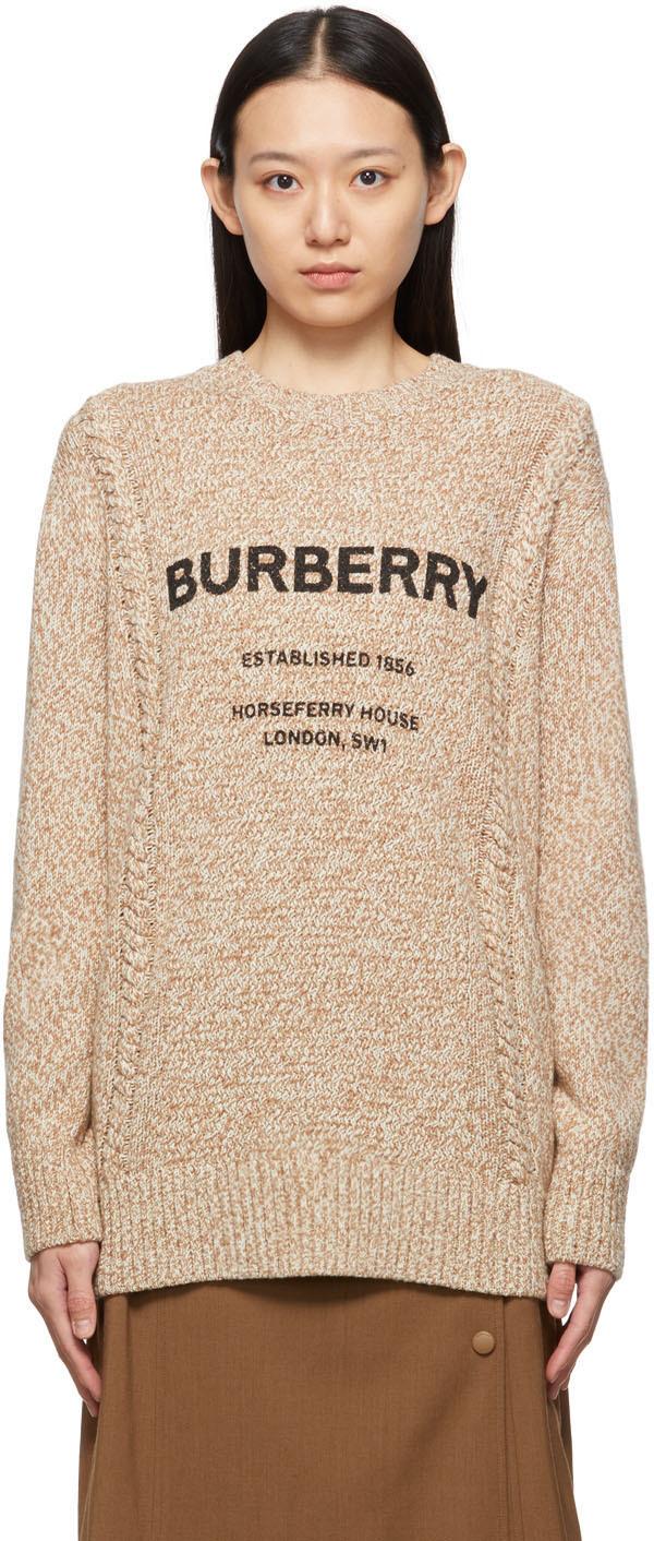 Beige & Off-White Wool Knit Mabel Sweater