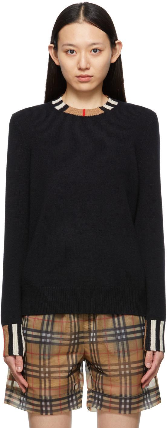 Black Cashmere Icon Stripe Eyre Sweater