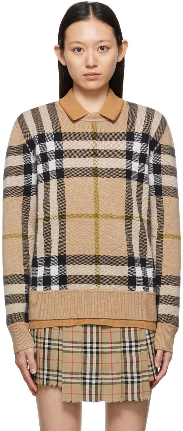 Beige Check Cashmere Jacquard Sweater