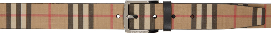 Beige E-Canvas Vintage Check Belt
