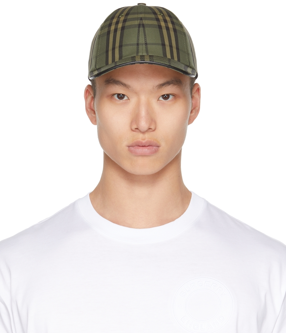 Green Vintage Check Baseball Cap