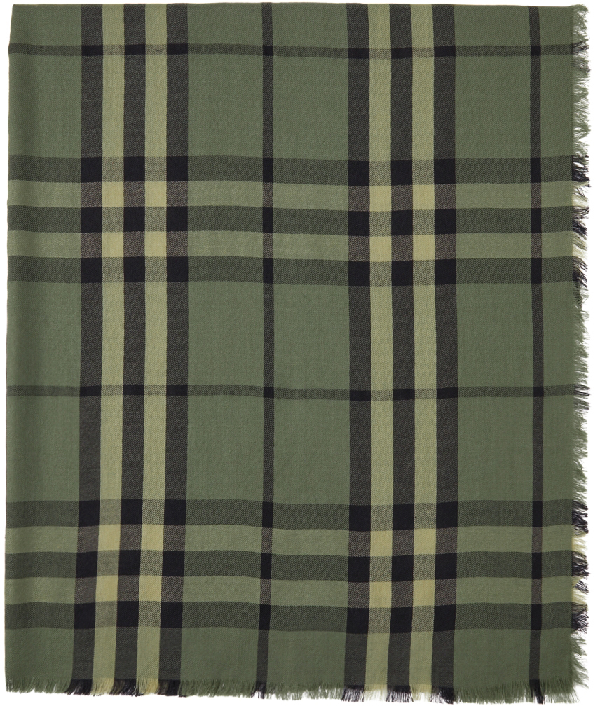 Green Cashmere Check Scarf