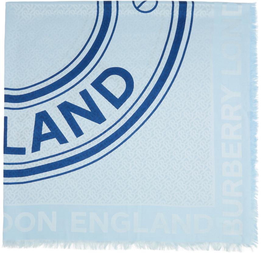 Blue Large Silk Jacquard Logo Square Scarf