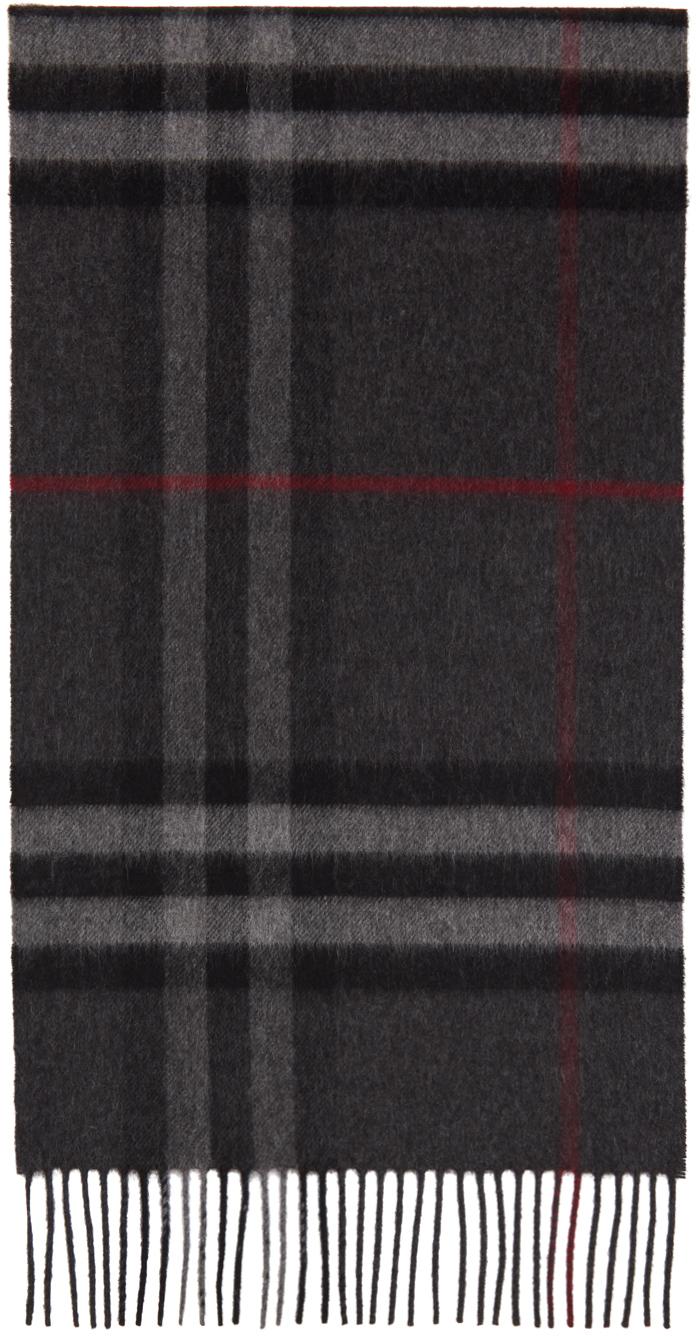 Grey Cashmere Classic Check Scarf