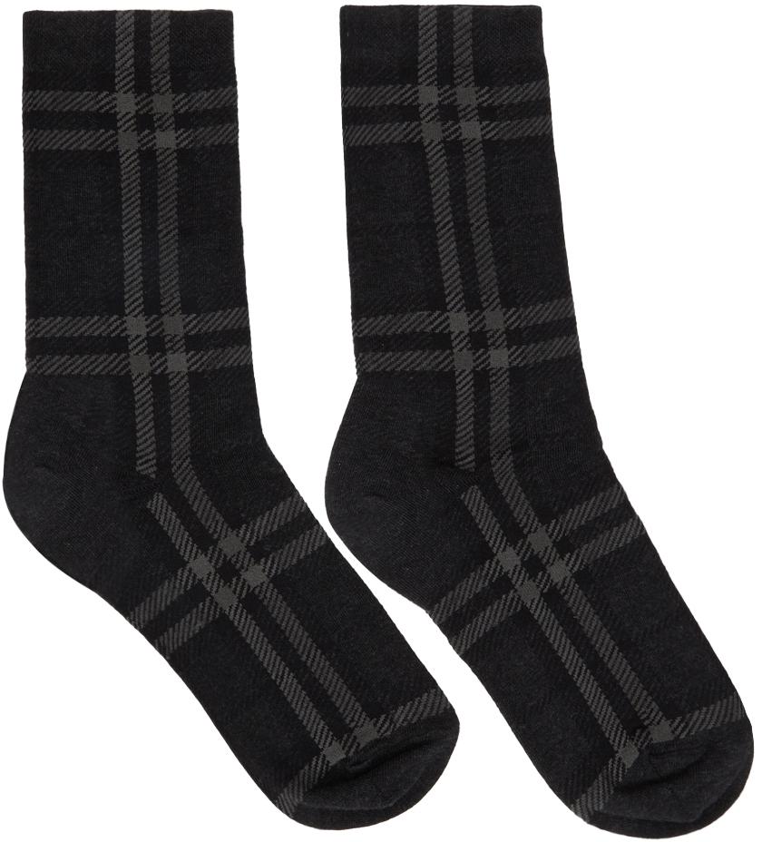 Grey Intarsia Check Mid Socks
