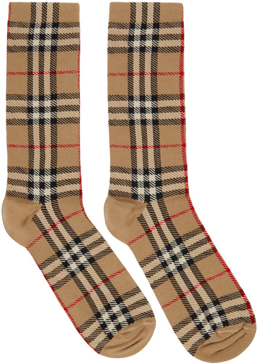 Beige Intarsia Check High Socks