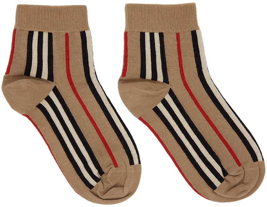 Beige Stripe Short Socks
