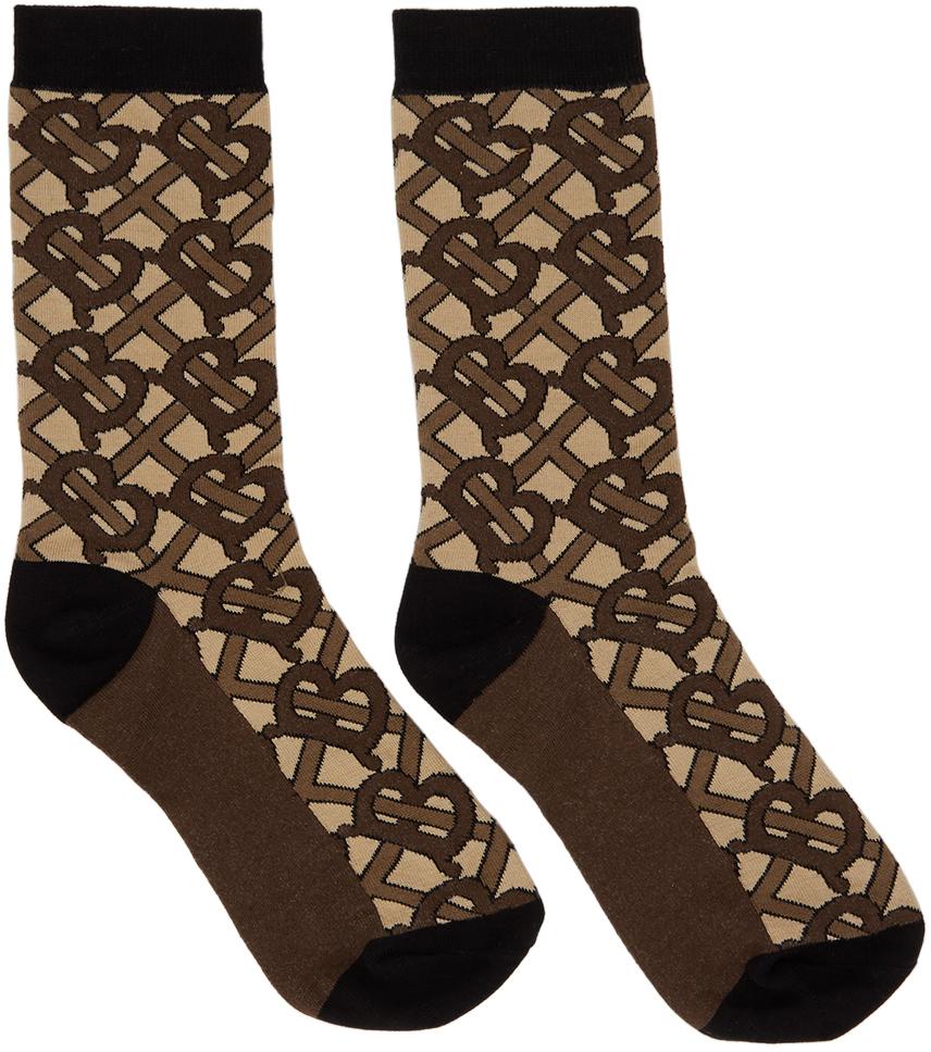 Brown TB Monogram Socks