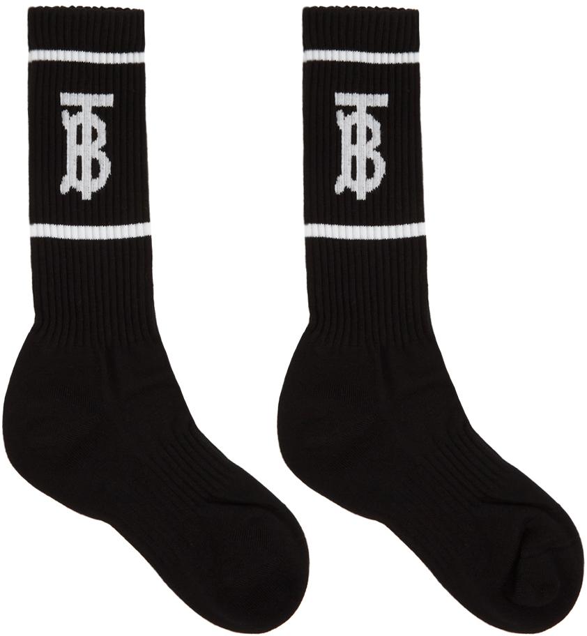 Black Intarsia Monogram Socks
