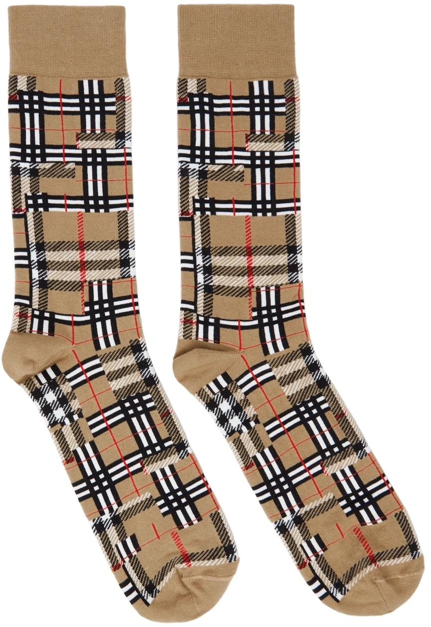 Beige Intarsia Patchwork Socks