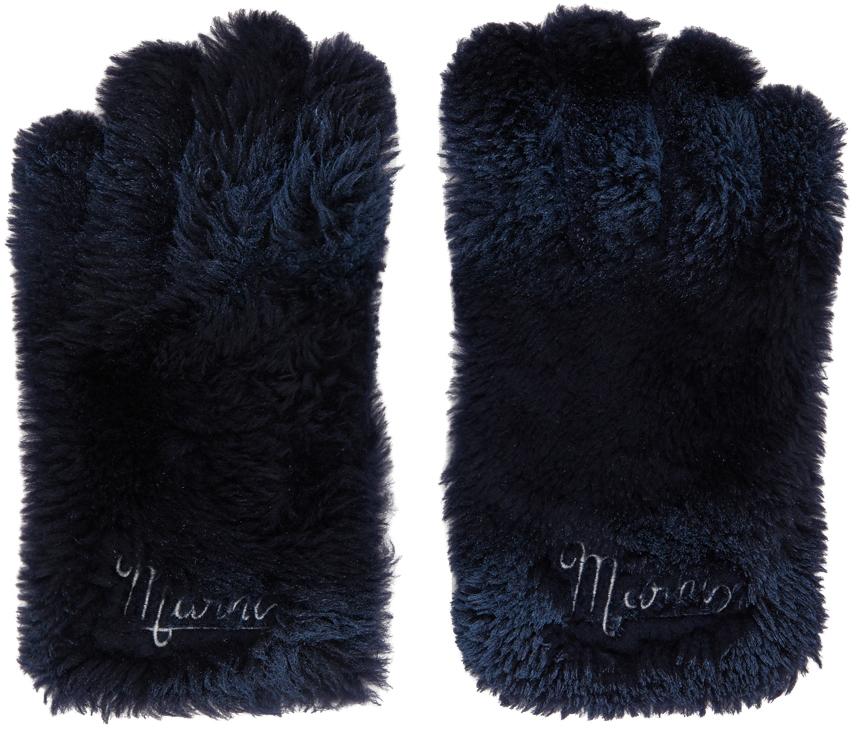 Navy Shearling Gloves